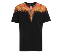 Black tee with flame wing detail