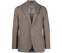 check-pattern tailored blazer