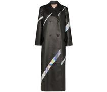 Langer Mantel mit Hologramm-Streifen