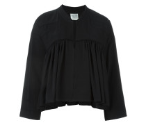 pleated panel zip up cropped jacket