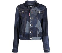 Jeansjacke mit geometrischem Print