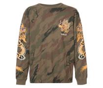 Camouflage-Langarmshirt mit Drachenstickerei