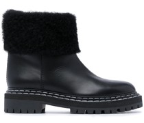 Lug Sole Shearling Ankle Boots