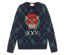 Argyle wool sweater with appliqués