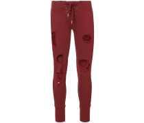 distressed lace up trousers
