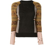 colour-block knitted top