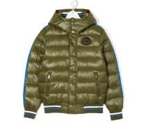stripetrimmed puffer jacket