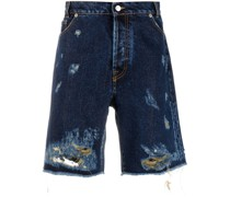 Jeans-Shorts mit Distressed-Detail