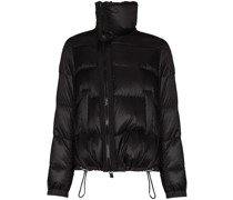 asymmetric quilted puffer jacket