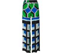 Ausgestellte Hose mit geometrischem Print