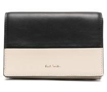 Concertina colour-block tri-fold purse