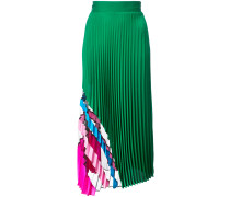 stripe and sheer panel pleated skirt