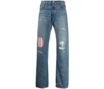Jeans mit gestreiftem Einsatz