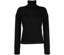 perforated-knit roll-neck jumper
