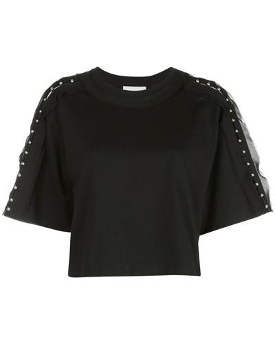 Cropped-T-Shirt mit Nieten