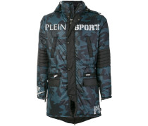 camouflage print quilted coat
