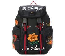 tech backpack with lotus embroidery
