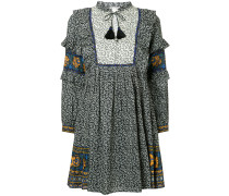 Maya border print ruffle sleeve dress
