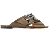 crossover strap embellished sandals