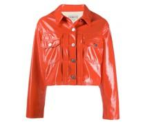 Cropped-Jacke aus Lackleder