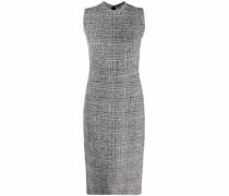check pattern sleeveless midi dress