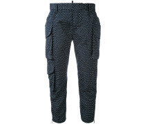 spotted cropped trousers - women - Polyester