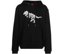 Skeleton-print cotton hoodie