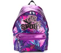 metallic leaf print backpack