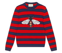 Striped wool sweater with bee