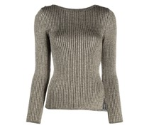 Gerippter Pullover in Metallic-Optik