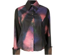 abstract-print wide-sleeve shirt