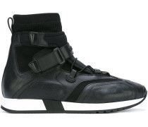 strap laced hi-top sneakers