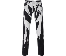 paint drip straight leg trousers