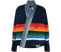 Gestreifter Cardigan mit Jeansbesatz