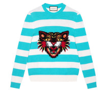 Gestreifter 'Angry Cat' Wollpullover