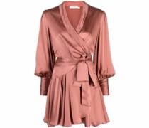 wrap silk mini dress