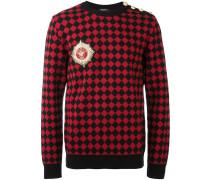 Karierter Pullover mit Logo-Patch