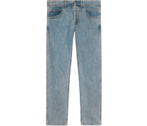Denim tapered pant with panther