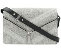 zip detail denim shoulder bag