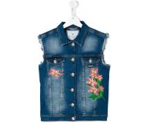 Jeansweste mit Blumenstickerei