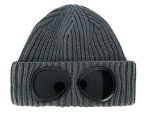 Gerippte Wollmütze mit Sonnenbrillen-Applikation