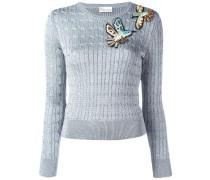 Lurex-Pullover mit aufgestickten Vögeln