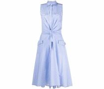 gingham check-print tied midi dress