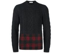 tartan panel cable knit jumper