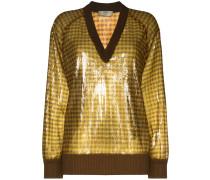 Karierter Pullover mit Pailletten