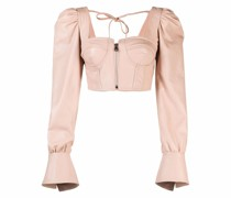 Cropped-Lederbluse mit Corsage