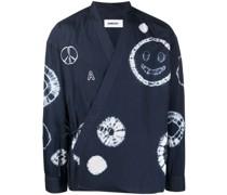 Kimono-Hemd mit Shibori-Print