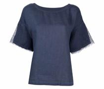 Leinen-T-Shirt mit Fransen