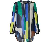 geometric print sheer shirt