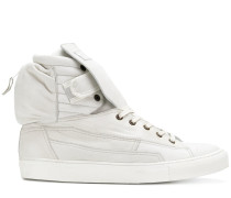 ribbed rear pouch hi-top sneakers